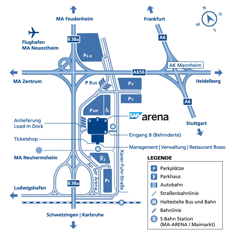 SAP arena Anfahrtsplan